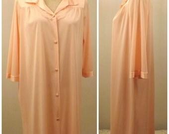 70s Vanity Fair Peach Peignoir Robe Button Front Size S