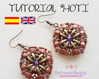 Schema Tutorial Beadwork, Earrings Pattern Beadweaving Earrings, Jewelry, Spanish and English, Crescent Beads Rivoli, Seed Beads Schema Hoti