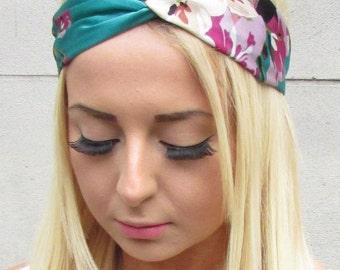 Green Pink Satin Kimono Rose Floral Print Turban Knot Headband Twist Boho 1001