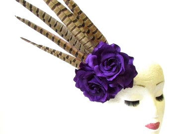 Purple Pheasant Feather Rose Flower Fascinator Headpiece Races Statement 1899