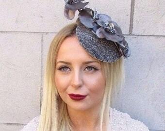 Dark Grey Silver Orchid Flower Fascinator Statement Headpiece Hair Clip 2547