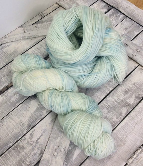 Hand Dyed Yarn,Icy Mint,Penny Candy Yarn,Fingering Weight,2 ply,80/20 Superwash Merino,100 gram,indie dyed yarn,knit & crochet,Toad Hollow