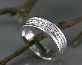 Men ring, silver men's branch ring, tree branch ring, men jewelry, bark texture ring, sterling silver wedding men ring, engagement ring