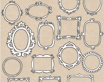 60% OFF SALE. Doodle Frames Clipart. Hand Drawn Frame Clipart. Borders & Frames, Tags. Vintage Scrapbook Labels. Black, White Photo Overlays