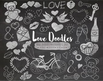 SALE. Chalk Valentines Day Clipart. Hand Drawn Love, Wedding Clip Art. Chalkboard Mothers Day Illustrations. Heart, Bicycle, Bird Doodles.