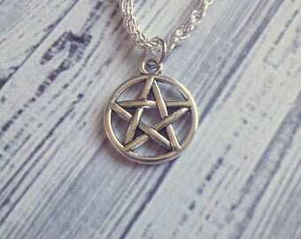 "Gothic Wicca Pentagram Chain Necklace 18"" - Choose Your Own Chain"