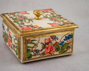 Antique jewelry box Victorian decor Jewelry storage Gold jewelry box Modern vintage Mothers day gifts Floral jewelry box Shabby chic box