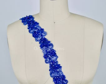 "Arielle's Royal Blue Beaded Lace Trim. Seuiqned Lace Trim. 1.75"" in Width"