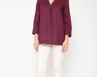 Burgundy Linen Top with V-Neck
