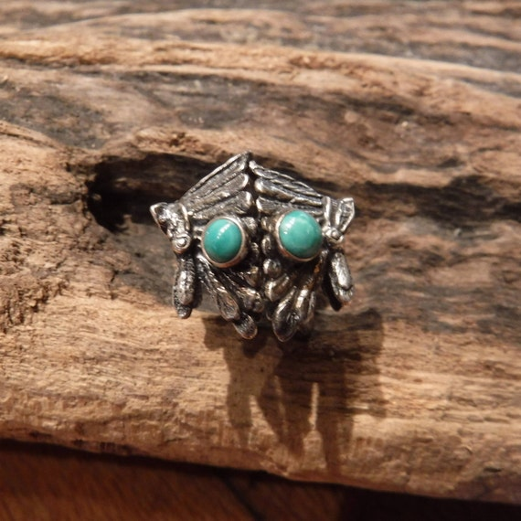 Native American Navajo Sterling Silver Turquoise Earrings Indian Head Dress Stamped Weight 5.4 Grams Native American Vintage Earrings