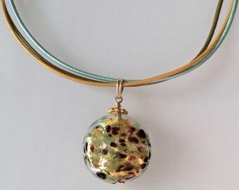 Murano Necklace Aqua Green, Gold and Cooper with Leather Cord. Murano Glass Pendant. Venetian Glass Pendant. Murano Glass Jewelry