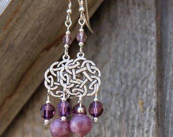 Silver, Lepidolite, and Swarovski Crystal Celtic Chandelier Earrings