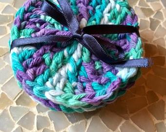 5 Crocheted 100% cotton Face Scrubbies Washcloths - Round