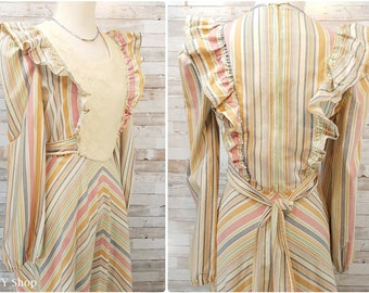 Cotton pastel striped full length prairie dress with lace and ruffles - Small