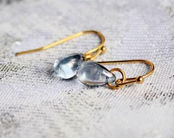 dangle drop earrings gray gold jewelry gift/for/daughter earrings simple jewelry 14k gold earrings gift/for/sister small earrings mini пя163