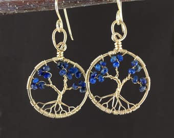 Lapis Lazuli Gold Tree-Of-Life 9th Anniversary Earrings September Birthstone December Birthstone Libra Earrings Sagittarius Earrings Women