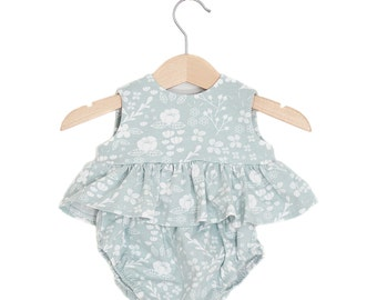 Floral Blue Top & Bloomers Baby Girl Set
