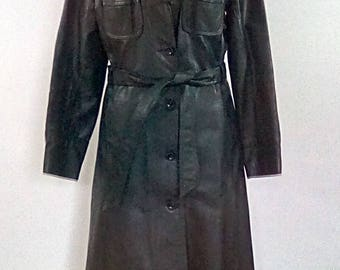Vintage 60s leather coat Black Leather full length coat by Suede & Leather Ltd Made in England size small