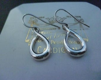 """A unique pair of sterling silver earrings - 925 - polished silver - 1.1"""" drop"""