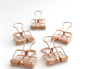Copper Planner Clips Binder Accessories Bull Clips Skeleton Paper Clips Bullclip Rose Gold x 5