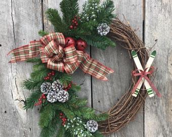 Winter Ski Wreath, Wreath with Skis, Rustic Ski Lodge Wreath, Old Fashioned Christmas Wreath, Front Door Wreath, Jingle Bell Wreath