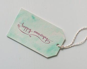 Hand-Lettered, Letterpress Printed, Hand-Painted Gift Tags, Happy Anniversary, Set of 6 Handmade Gift Tags