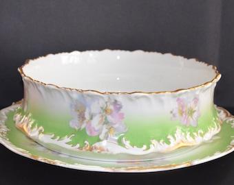 Antique LIMOGES French Porcelain FERNER Pudding Bowl T&V Tressemanes Vogt Victorian Period Decor