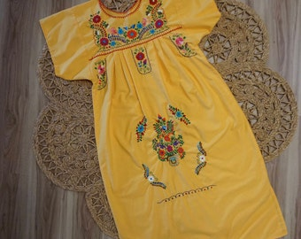 1970's  Colorful Embroidered Yellow Mexican Dress Size S