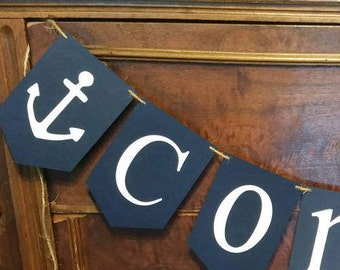 Nautical Baby Shower, Anchor Baby Shower, Navy Gray Name Banner, Baby Shower Banner, Baby Shower Sign, Baby Boy Shower Decorations