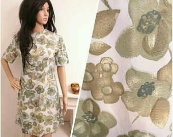 Vintage 60s Green Satin Floral Daisy A line Shift Mini Dress Mod / UK 10 / EU 38 / US 6