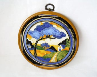 art deco picture, Clarice Cliff hand embroidery, kitsch hoop art, deco dance pattern, wall art, framed scenery picture, 6.5 inches