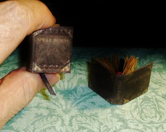 BOOK OF SPELLS Dollhouse Miniature Book! Antique Gold Edges-Embossed Cover-Jewel Tones-36 Pages-Beautiful!!