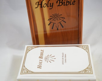 HOLY BIBLE In Cedar Box Dove Peace Catholic Edition New American Bible 1991 MINT Condition No Markings Union Made Box