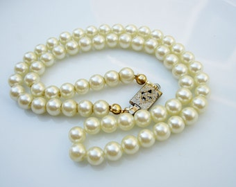 Vintage 50's Pearl Necklace with Ornate Box Slide Clasp