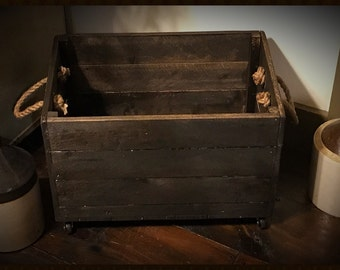 Rustic Reclaimed Wood Rolling Storage Crate