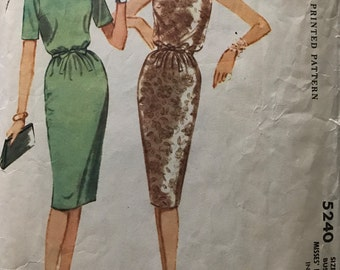 McCalls 5240 - 1950s Day or Evening Dress with Blouson Bodice and Three Gore Wiggle Skirt - Size 12 Bust 32