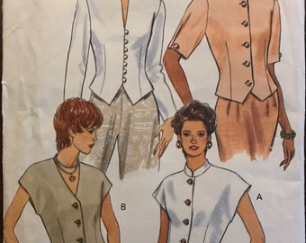Butterick 3510 - Fast and Easy Weskit Style Button Front Top - Size 12 14 16