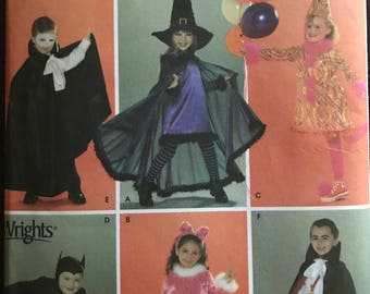 Simplicity 3595 - Kids Costume Collection Including Phantom, Vampire, Witch, Clown, Batman, and Cat - Size 3 4 5 6 7 8
