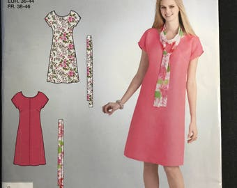 Simplicity E2120 - Easy to Sew Summer Dress with Center Seam Detail and Scarf - Size 10 12 14 16 18