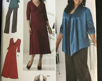 Simplicity 2336 - Khaliah Ali Top or Dress with Gathered Bodice Detail, Drape Front Jacket, and Pants or Skirt - Size 10 12 14 16 18
