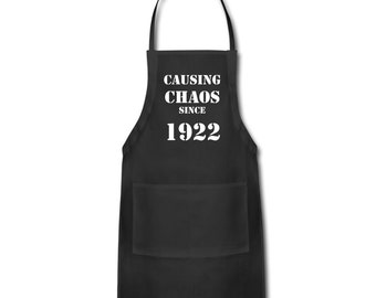 95th Birthday Gift Ideas - Unique Apron - Causing Chaos Since 1922 Apron Gift -  Memorable Birthday Gifts