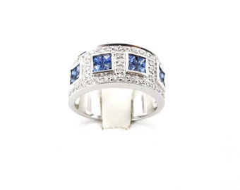 14 K White Gold Diamond And Sapphire Ring 1.35 Carats