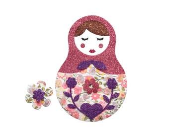 Matriochka Iron On patch embellish russian doll decor ornament Liberty Fabric Applique Kayli sunshine pink and Glitter Fabrics