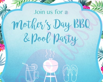 RESERVED-- BBQ and Pool Party Invitation