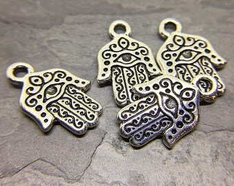 Silver Plated Hamsa Hand Charms, TierraCast Charms, Lead Free Pewter, 20x13mm - 4 charms (CH-51)