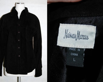 1980s Neiman Marcus Black Suede Shirt // 80s Mens Button Up Leather Shirt
