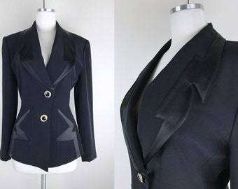 1980s Black Cutout Blazer with 2 Tone Material // 80s Liz Elana Fancy Fitted Blazer Jacket with Large Gold Jewel Buttons