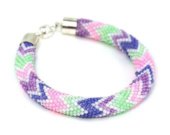 Bead crochet bracelet • Crochet bracelet • Beadwork bracelet • Beaded bangle • Fashion jewelry • Rose bracelet • Bead crochet rope