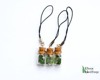 Real dried moss and quartz crystal glass cork bottle phone charm
