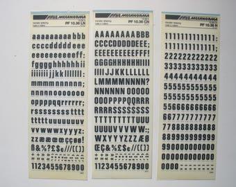 3 rub on transfer letter sheets, black Mecanorma 36pt. letraset vintage letters